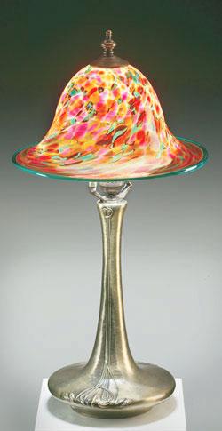 Kendall art glass table lamp nouveau base tl2 rsguw table lamp nouveau base tl2 rsguw 40000 lamp height 20 h hand blown glass mozeypictures Images